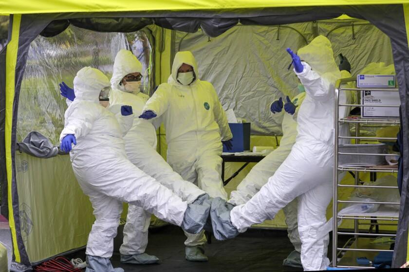 Nurses at COVID-19 testing site in Colton