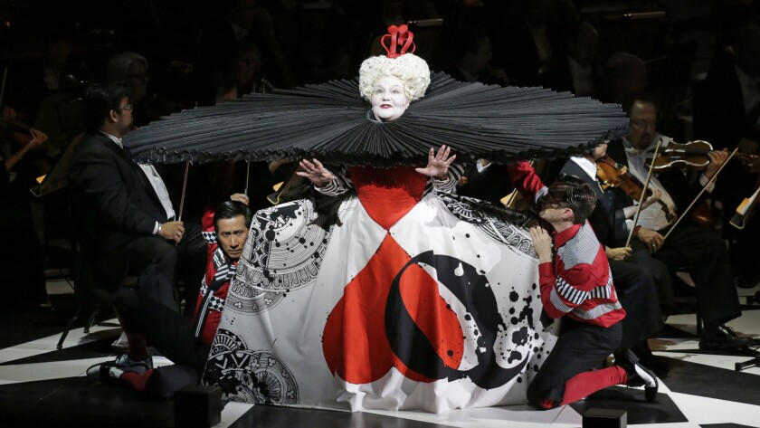 """Jane Henschel as Queen of Hearts and cast members in """"Alice in Wonderland"""" with the Los Angeles Philharmonic at Walt Disney Concert Hall."""