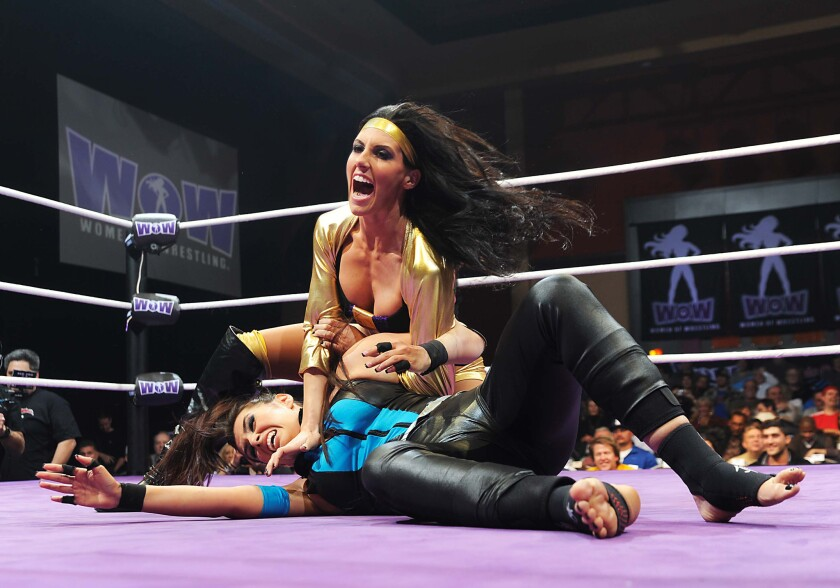 Female wrestler Santana Garrett in action at a WOW match in Las Vegas.