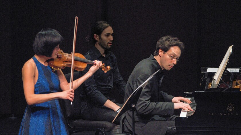 """Jennifer Koh and Shai Wosner perform in """"Bridge to Beethoven"""" on March 26, 2016, at the Wallis Annenberg Center for the Performing Arts in Beverly Hills."""
