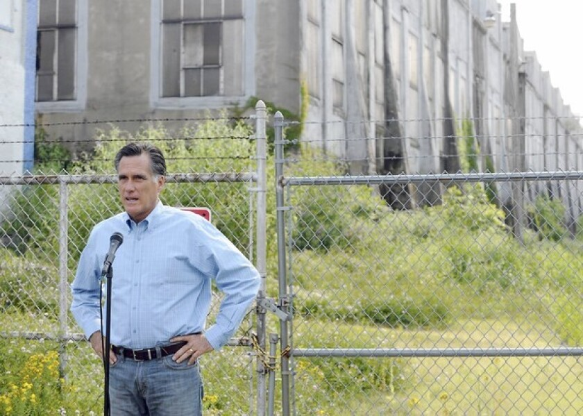 Republican presidential hopeful Mitt Romney addresses the media and a small crowd at the former Allentown Metal Works plant in Pennsylvania. He says he can create more jobs in the U.S.