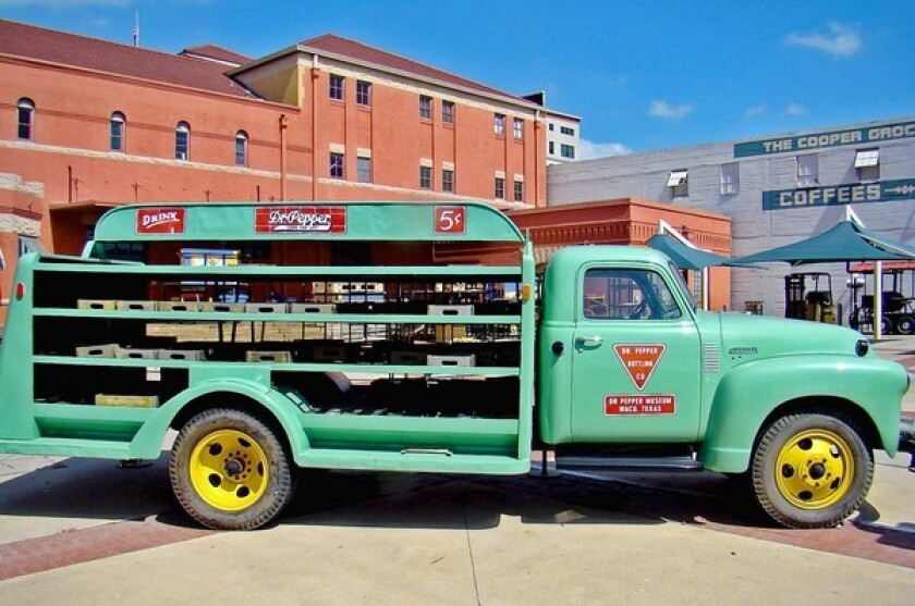 A 1950s delivery truck is parked outside the Dr Pepper Museum in downtown Waco, Texas.