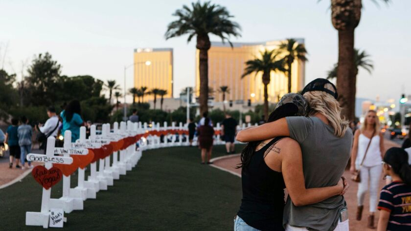 A memorial displaying 58 crosses by Greg Zanis stands in Las Vegas on Oct. 5.