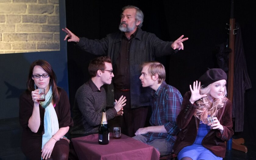 "Virginia Gregg, Eric Parmer, Todd Blakesley, Matt Murphy and Tatiana Mac (left to right) in ""The Gift Teller."""