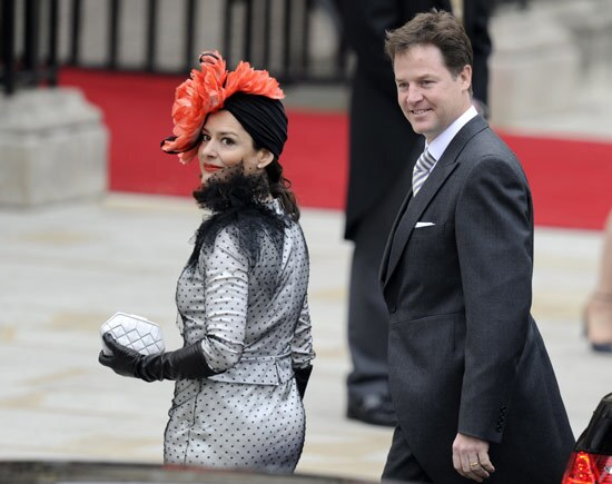 British Deputy Prime Minister Nick Clegg and his wife Miriam Gonzalez Duantez arrive at the wedding. Photo gallery: Prince William and Kate Middleton are married Photo gallery: The royal wedding dress