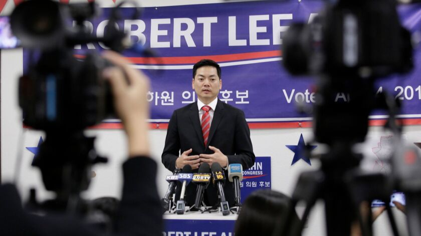 Robert Lee Ahn at a news conference with Korean media on Wednesday.