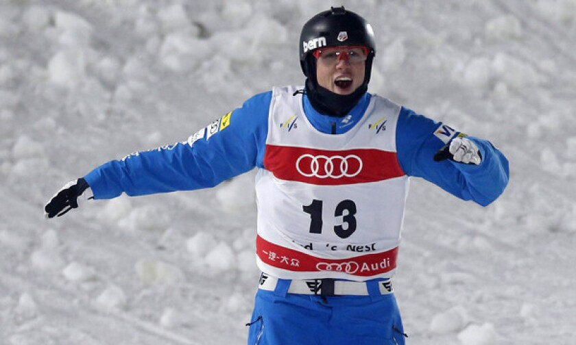 American Dylan Ferguson reacts following an aerials run at a freestyle skiing World Cup event in Beijing in December. Ferguson might not be able to totally describe what he can do in the air, but he can certainly pull it off.