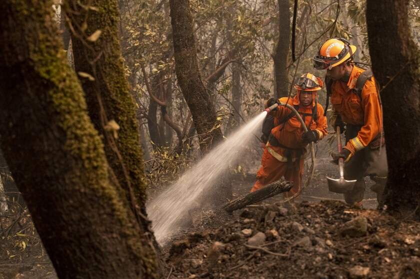 A fire crew drowns embers on the Bear fire on Friday in Oroville, Calif.