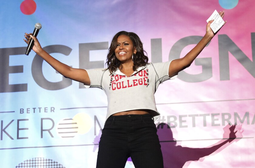 LOS ANGELES, CA - MAY 1, 2019 - Former First Lady Michelle Obama addresses the crowd at Pauley Pavi