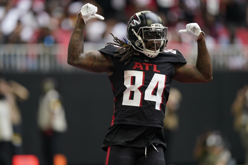 Atlanta Falcons running back Cordarrelle Patterson (84) celebrates his touchdown against the Washington Football Team during the first half of an NFL football game, Sunday, Oct. 3, 2021, in Atlanta. (AP Photo/Brynn Anderson)