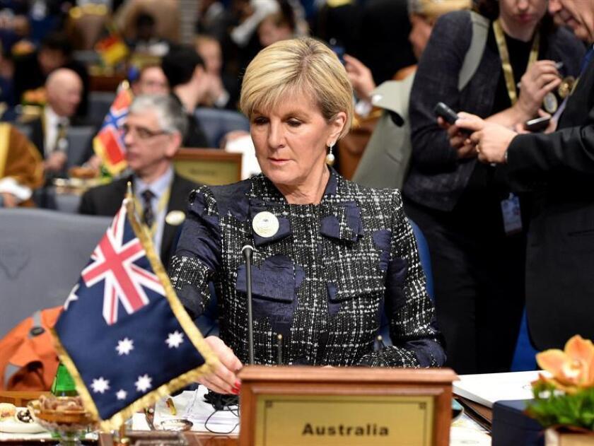 Australia y Timor Oriental firmaron hoy un tratado para delimitar su frontera marítima y poner fin a la disputa que han mantenido durante los últimos años. En la imagen la ministra de Exteriores australiana, Julie Bishop. EFE/EPA/ARCHIVO