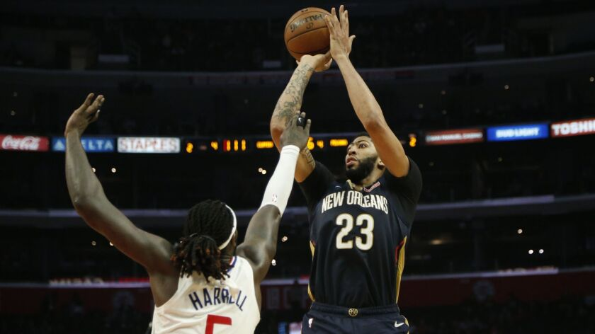 New Orleans Pelicans' Anthony Davis (23) in actions during an NBA basketball game between Los Angele