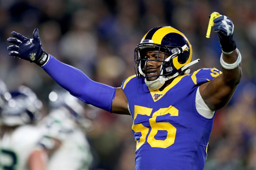 Rams linebacker Dante Fowler celebrates during a game against the Seahawks.