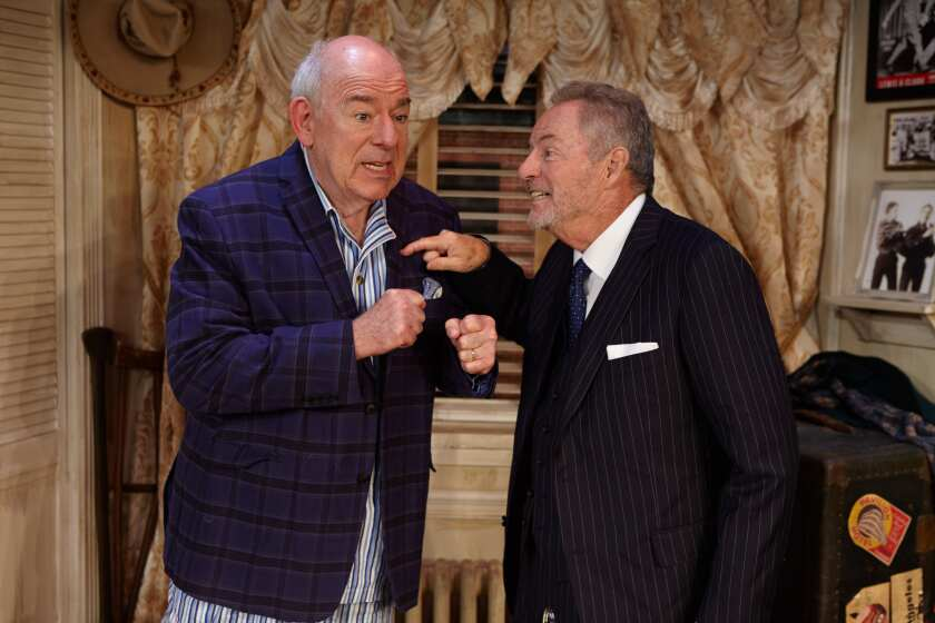 """Lenny Wolpe, left, as Willie Clark and James Sutorius as Al Lewis in """"The Sunshine Boys"""" at North Coast Repertory Theatre in Solana Beach."""
