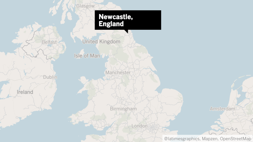 Map shows location of Newcastle in northeastern England.