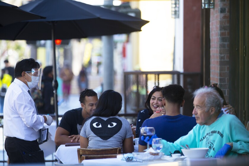 Santa Barbara has turned part State Street into a car-free promenade. Face coverings are optional outdoors there.
