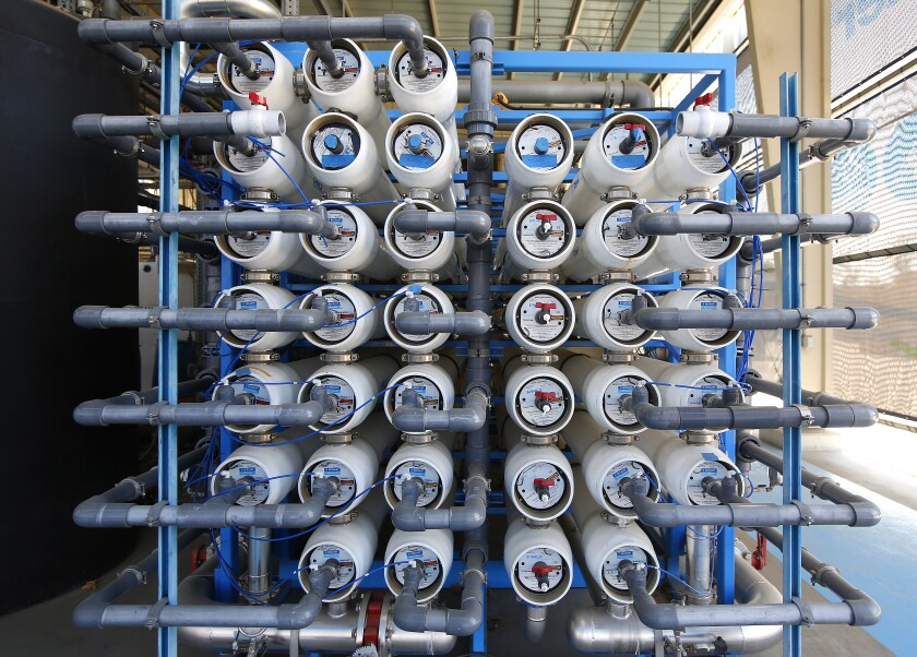Reverse osmosis filters are stacked at the Pure Water Demonstration Facility in Miramar