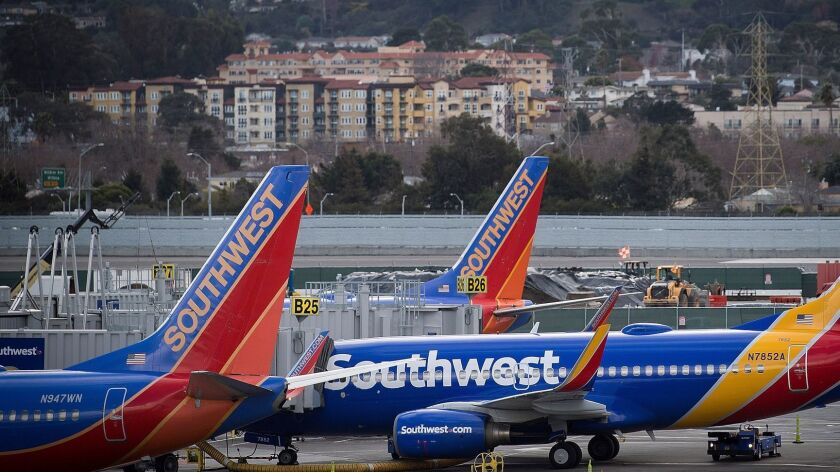 Southwest Airlines airplanes lined up on the tarmac at San Francisco International Airport in January.