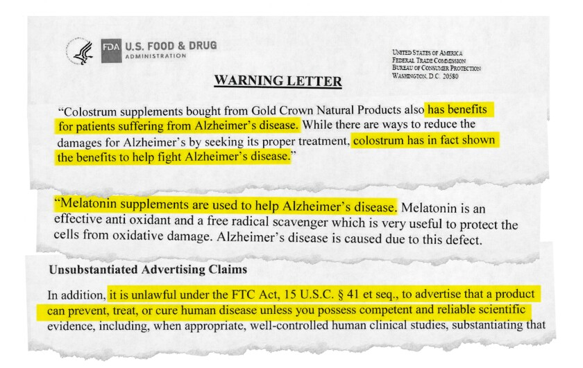 The FDA sent 12 warning letters to domestic and foreign companies selling 58 products that made false or misleading claims about their efficacy in the use of dementia.