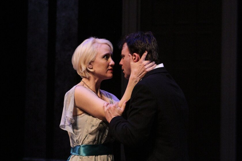 """Jennifer Eve Thorn as Ophelia and Sean Cox as Hamlet in Intrepid Shakespeare Company's production of """"Hamlet."""" CREDIT: Daren Scott"""