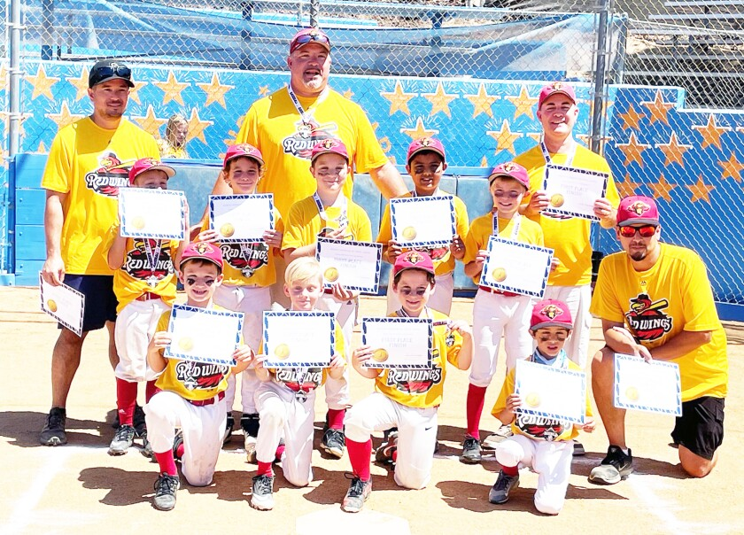 The Rancho Bernardo Red Wings after winning the Double-A Championship earlier this month.