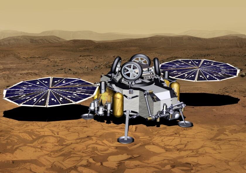 Mars sample return lander with solar panels deployed