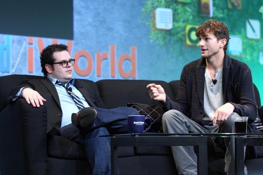 Actors Josh Gad (left) and Ashton Kutcher discussed the upcoming Steve Jobs biopic at Macworld.