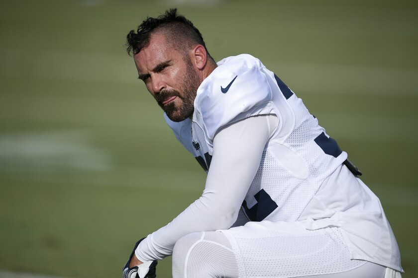 Rams safety Eric Weddle takes part in training camp July 30 in Irvine.