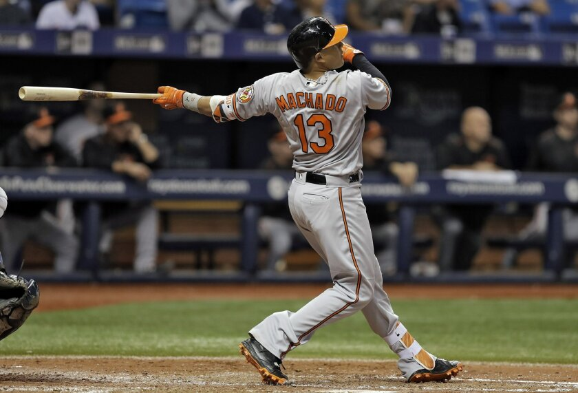 Baltimore Orioles' Manny Machado follows the flight of his grand slam off Tampa Bay Rays starting pitcher Jake Odorizzi during the fourth inning of a baseball game Tuesday, Sept. 6, 2016, in St. Petersburg, Fla. (AP Photo/Chris O'Meara)