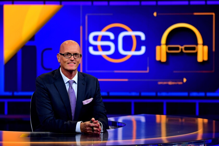 Scott Van Pelt on the set of ESPN's 'SportsCenter'