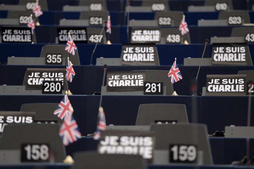 """Placards which read """"Je Suis Charlie"""" are displayed in the European Parliament on Jan. 13, 2015 in Strasbourg, France."""