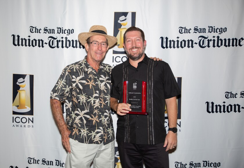 Mike and Chris Hall (from left) of Hallmark Communities took home the 2019 Building Industry's ICON Award. Hallmark also was voted a Favorite New Home Builder in the 2019 San Diego's Best U-T Readers Poll.