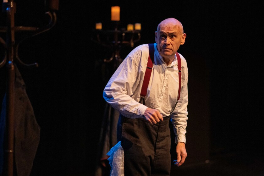 """David Mynne in Charles Dickens' """"A Christmas Carol"""" at the Wallis in Beverly Hills."""