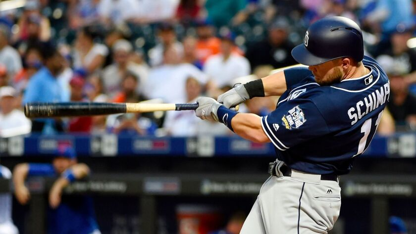 Padres infielder Ryan Schimpf hits a grand slam off of New York Mets starting pitcher Logan Verrett in the first inning Friday, Aug. 12, 2016, in New York. At 27.7 degrees, Schimpf had the majors' highest average launch angle in 2016.
