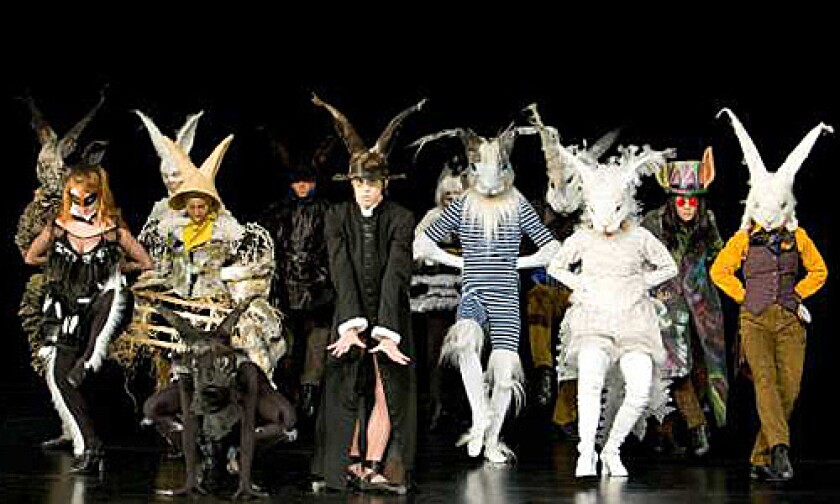 """In """"Criss Angel: Believe"""" the cast portrays Angel's homage to rabbits, the magician's prop."""
