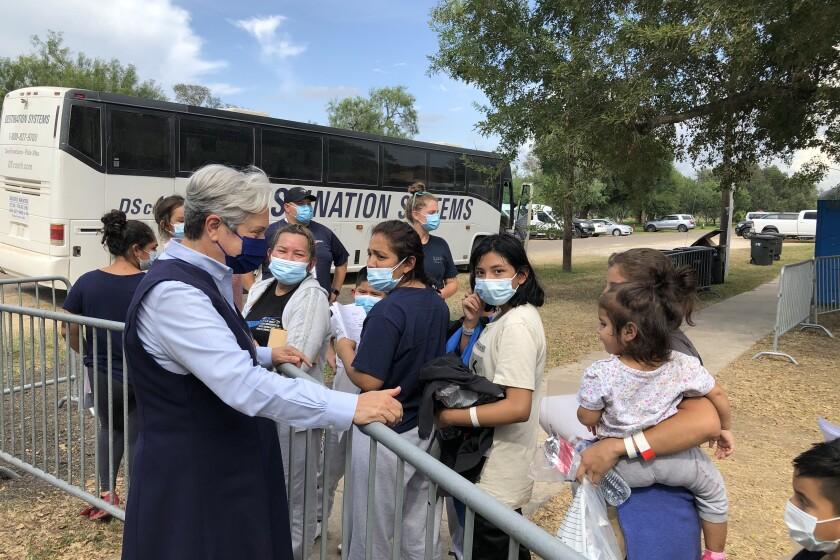Sister Norma Pimentel greets migrants at Anzalduas Park