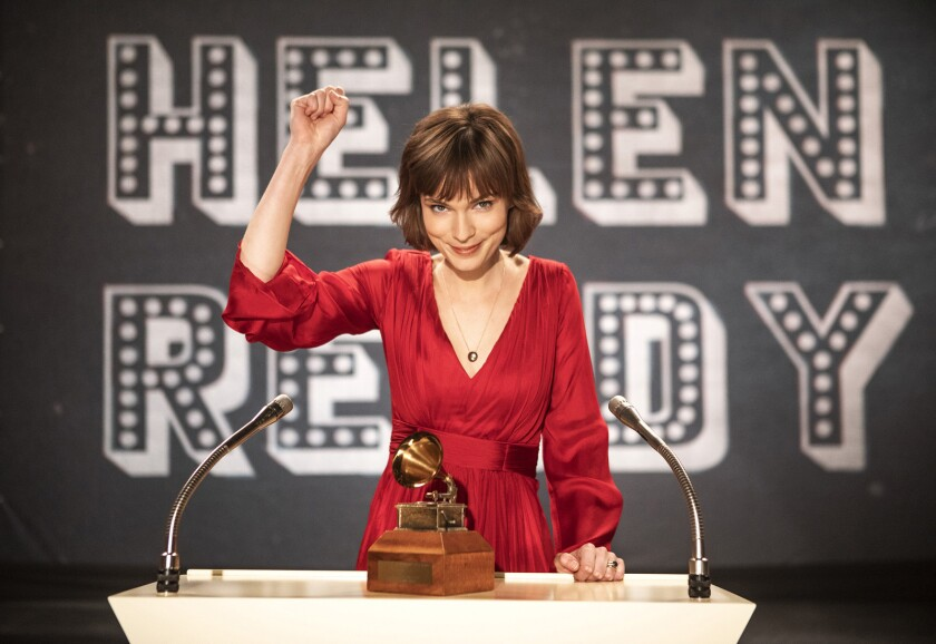 "Helen Reddy, played by Tilda Cobham-Hervey, accepts a Grammy in the movie ""I Am Woman."""