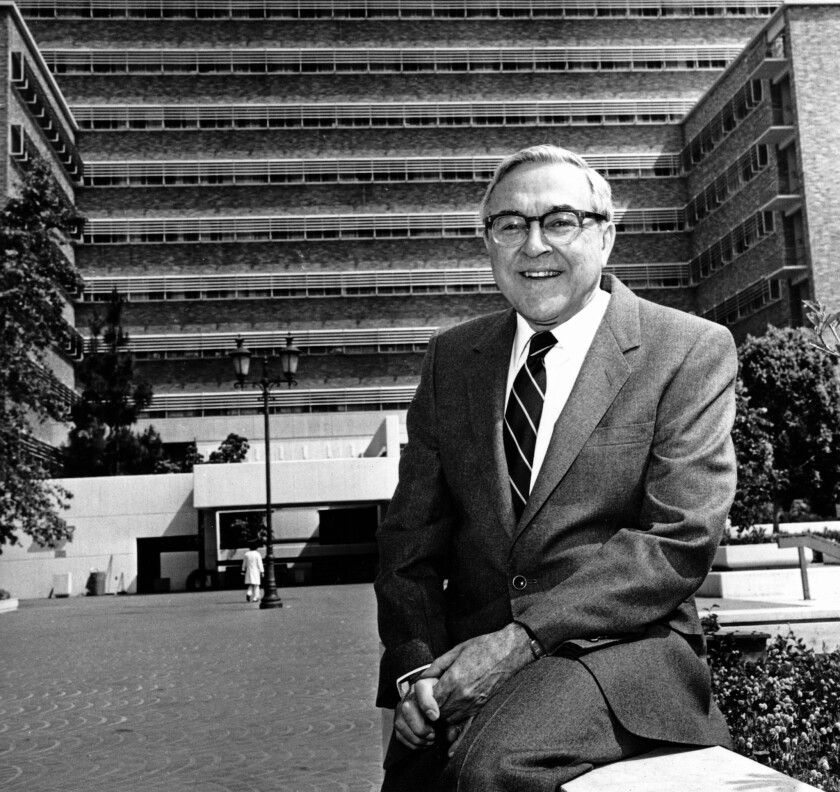 Dr. Sherman Mellinkoff, dean of the UCLA Medical Center School, in 1986