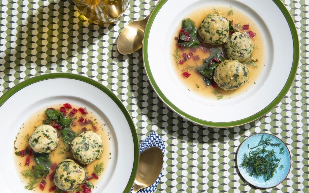 Kismet's Chard and Leek Matzo Ball Soup