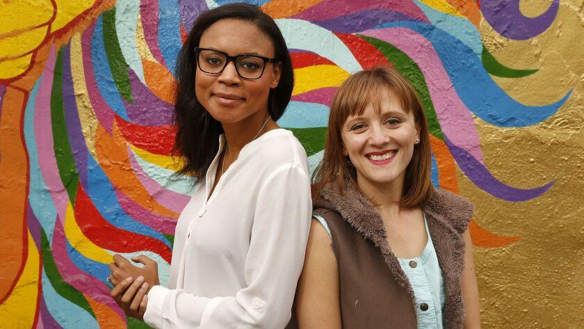 LOS ANGELES, CA – May 2, 2018: Los Angeles composer Ellen Reid, right, with librettist Sarah LaBri