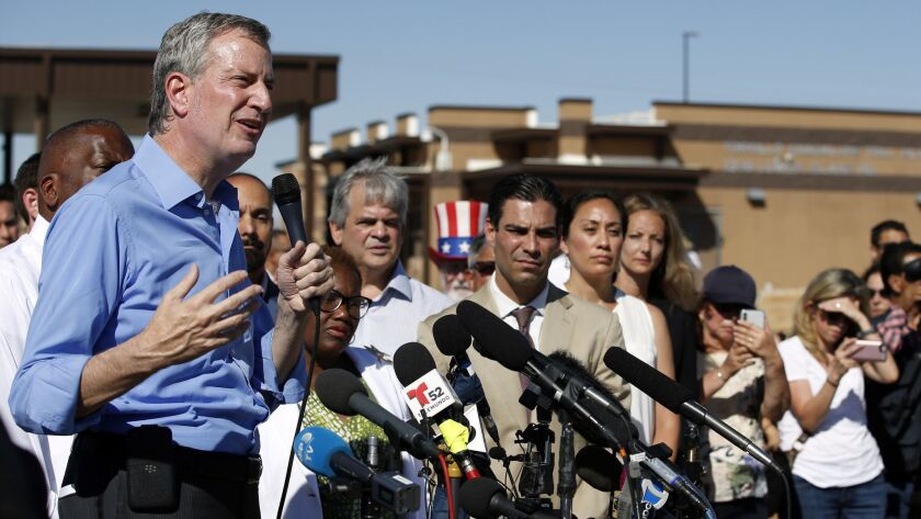 New York Mayor Bill de Blasio speaks outside a holding facility for immigrant children in Tornillo, Texas, on June 21.