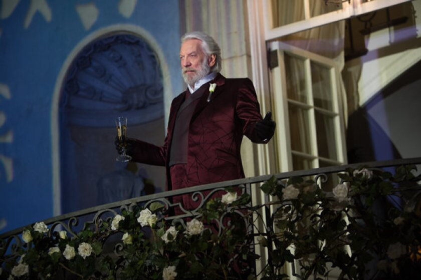 "Donald Sutherland as President Snow in ""The Hunger Games: Catching Fire."""