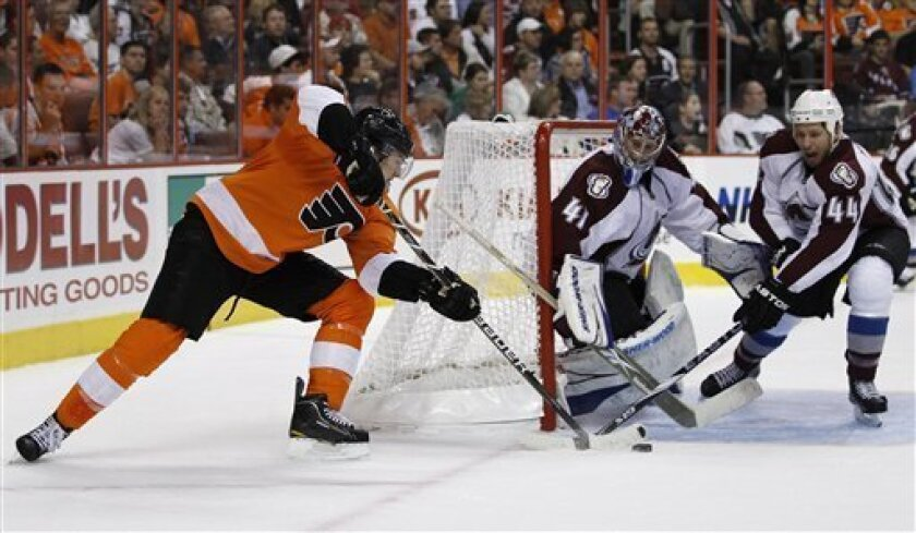Philadelphia Flyers' James van Riemsdyk, from left, tries to get a shot past Colorado Avalanche goalie Craig Anderson and Ryan Wilson in the second period of an NHL hockey game, Monday, Oct. 11, 2010, in Philadelphia. (AP Photo/Matt Slocum)