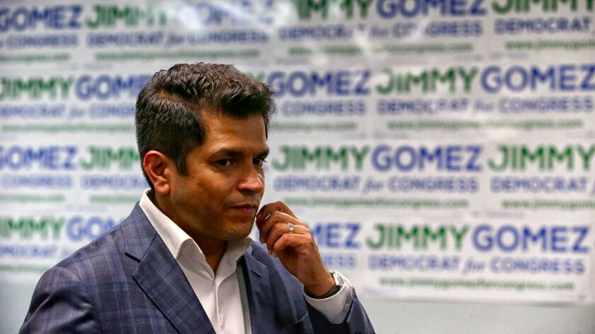 LOS ANGELES, CA, TUESDAY, JUNE 6, 2017 - Staff and supporters of Assemblyman Jimmy Gomez gather at e