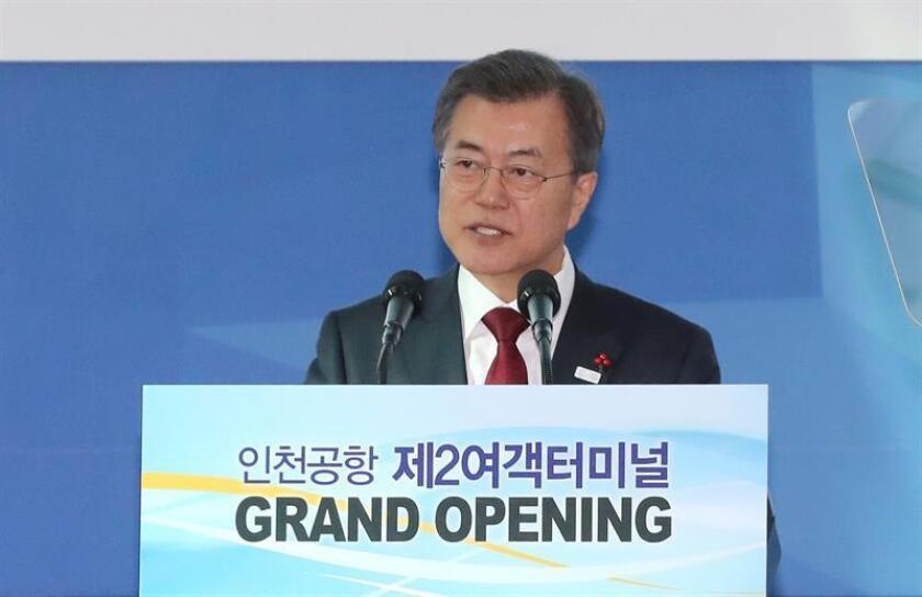 El presidente surcoreano, Moon Jae-in, ofrece un discurso EFE/ Yonhap /PROHIBIDO SU USO EN COREA DEL SUR