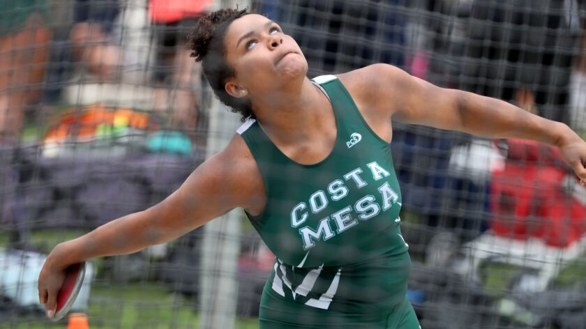 Costa Mesa High School discus thrower Tayla Crenshaw throws in CIF SS Track & Field Divisional Final