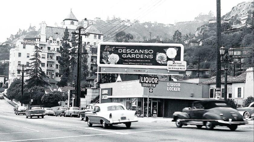 DG Billboard on Sunset Blvd Feb. 1956 (Courtesy of Descanso Gardens)