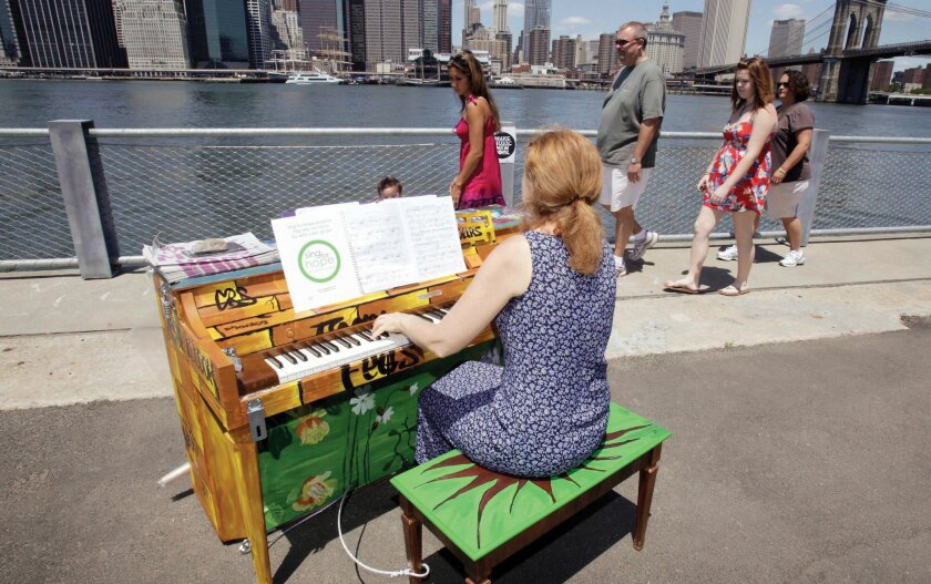 During the summer of 2010,  Carolyn Enger of Englewood, N.J., played a piano in Brooklyn Bridge Park. This summer, there are plans to have 88 pianos on sidewalks and in the parks of New York City.
