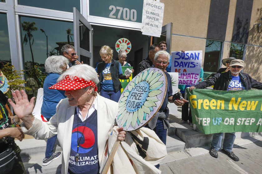 Members of San Diego350, Indivisible and the Sunrise Movement protested and held a sit-in in March at the San Diego office of Rep. Susan Davis on Adams Avenue to persuade her to back the Green New Deal resolution