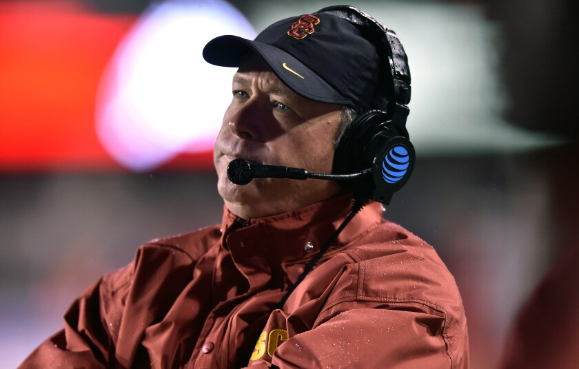 USC defensive coordinator Clancy Pendergast stands on the sideline.